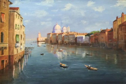 """""""The Grand Canal, Venice"""" Oil on canvas, 24 x 36 inches, Signed lower left"""