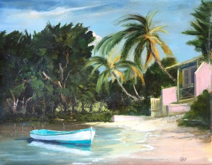 """""""Tropical Cove"""" Oil on canvas, 16 x 20 inches, Signed lower right"""