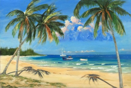 """""""Windemere Beach"""" Oil on canvas, 24 x 36 inches, Signed lower right"""