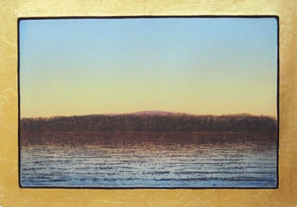 """Red Hill"" 2004, Aquatint/Etching, Edition of 18, 10.75 x 15 inches, Hand Gilded 22 kt Gold Border, Signed & Inscribed"