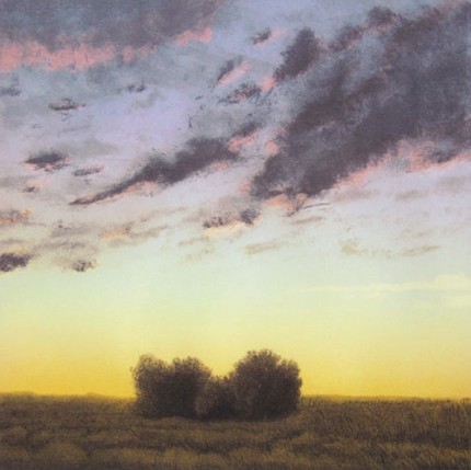 """Two Bushes at Twilight"" 2006, Limited Edition Print, Aritst Proof, 17 x 17 inches, Signed & Inscribed"