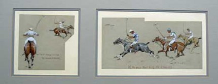 """Polo - by Snaffles"" and ""Polo - It's The Pace That Kills The Finances"" c. 1920, Two watercolours framed as one, Signed upper left, 10 x 15 inches, Condition for each is excellent, Rare and scarce"