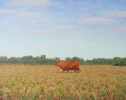 """Red Cow, Texas"" 2012, Oil on linen, 24 x 30 inches, Signed"