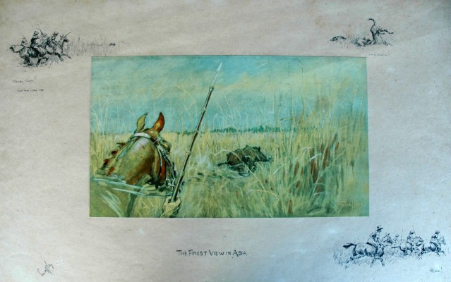 """The Finest View in Asia"" c. 1928, Pig sticking print, 17 x 27.5 inches, Signed in pencil with Snaffles blind stamp"