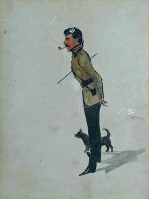 """Cameronian officer with his dog"" c.1912, Original watercolour with gouache, 16 x 13 inches, Signed in gouache"