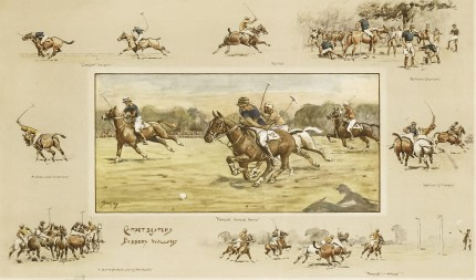 """Carpet Beaters vs. Bobbery Wallahs"" c. 1930, Coloured lithograph, 17.7 x 27.8 inches (45 x 70.5 cm), Embossed Snaffles bit stamp on the mount, Rare & Scarce 