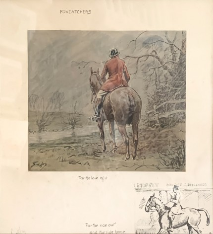 """Foxcatchers"" Chromolithograph, 15.5 x 14 inches, 19.5 x 18 inches, Signed in pencil, Blind Embossed Snaffles Bit Stamp"