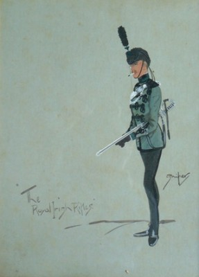 """The Royal Irish Rifles by Sniper"" c.1925, Original watercolour, 17 x 13 inches, Titled and signed in brown watercolour"