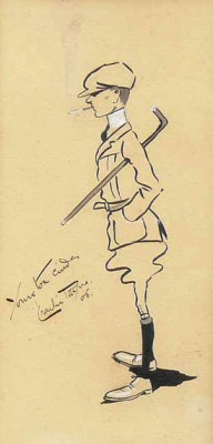 """Yours to a cinder - Charlie Payne '05"" c.1905, Original pen and ink drawing, 10 x 5 inches, Signed"