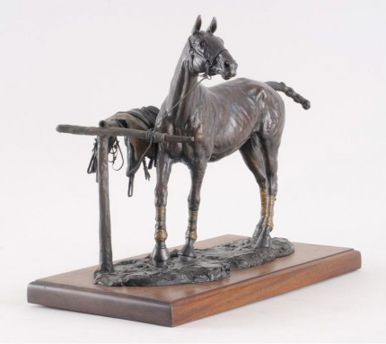 """""""The Polo Pony"""" 1992, Edition: 1/7, Bronze with a rich brown patina, 14 x 15.5 x 7 inches, Signed, Dated & Numbered"""