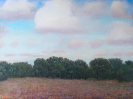 """White Clouds, Hollywood Ranch"" 2012, Oil on linen, 36 x 48 inches, Signed"