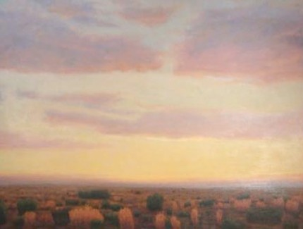 """Yellow Sky, Red Clouds"" 2006, Oil on canvas, 30 x 40 inches, Signed"