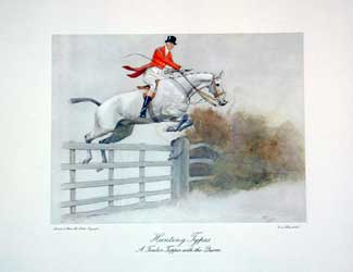 Set of Four Hunting Types: A Timber Topper with the Quorn Lithograph (one of four), 13 x 16 inches (plate size)