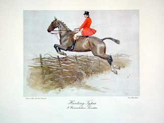 Set of Four Hunting Types: A Warwickshire Thruster Lithograph (one of four), 13 x 16 inches (plate size)