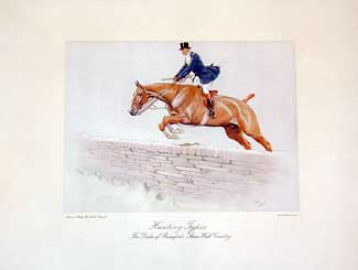 Set of Four Hunting Types: The Duke of Beaufort's Stone Wall Country Lithograph (one of four), 13 x 16 inches (plate size)