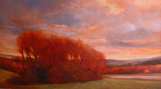 "Red Trees at Wethersfield, 2003, Oil on linen, 12""x22"", Signed"