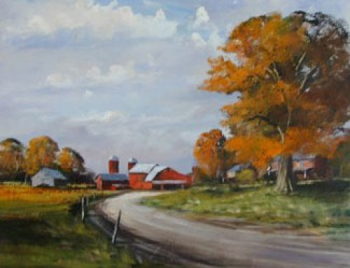 """""""Bend in the Road"""" Oil on board, 22 x 28 inches, Signed"""