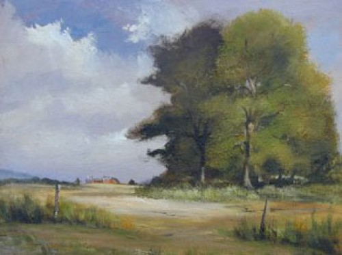 """""""Near Livingston"""" Oil on board, 20 x 16 inches, Signed"""