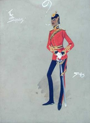 """The Sappers"" Study of an officer of the 17th (Duke of Cambridge's Own) Lancers, c.1910, Original watercolour, 9 x 6 inches, Titled and signed in ink"