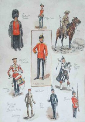 """Sketches of the British Army - Infantry"" c.1906, Original watercolour with ink background, 11 x 8 inches, Signed: Charles Payne 
