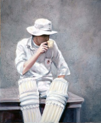 """Tea Time"" (Cricket Player) Oil on canvas, 50 x 60 cm, Dark wooden frame, Signed & Dated 2006"