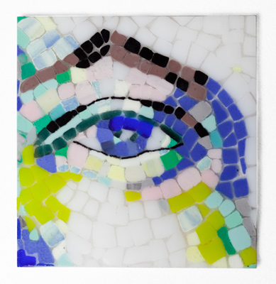 """Blue Eye"" Fused glass mosaic with black metal stand, 8 inch diameter, Signed"