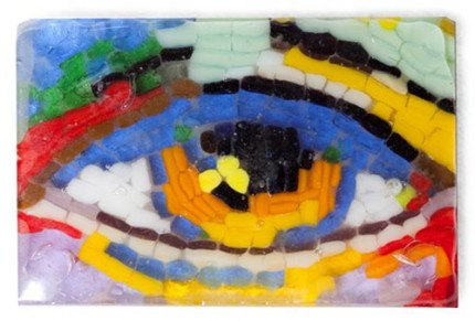 """Wise Monkey Eye II"" Fused glass mosaic, with black metal stand, 4 x 2 1/2 inches, Signed"