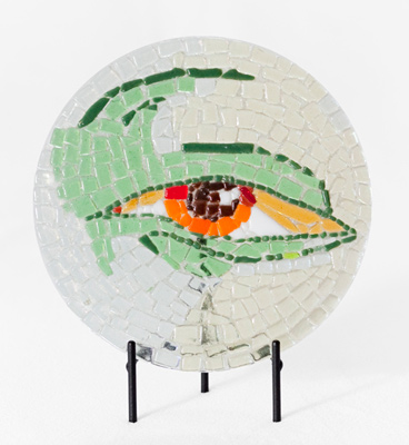 """Green Eye"" Fused glass mosaic with black metal stand, 8 inch diameter, Signed"