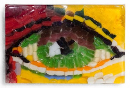 """Wise Monkey Eye III"" Fused glass mosaic, with black metal stand, 4 x 2 1/2 inches, Signed"