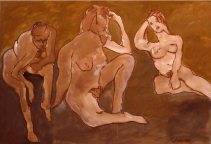 """Three Women"" Gouache on Arches paper, 44 x 72 inches, 1988"