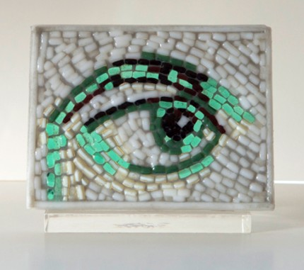 """Looking for…….You"" Fused glass mosaic, 4 x 5 1/4 x 5/16, Signed"
