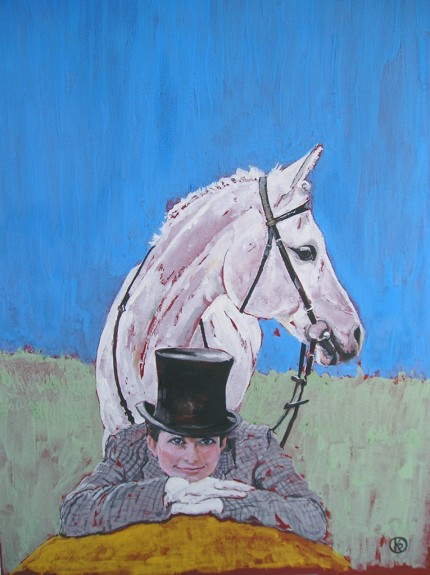 """A Lady and Her Horse"" Casein on paper, 12 x 9 inches, Signed"