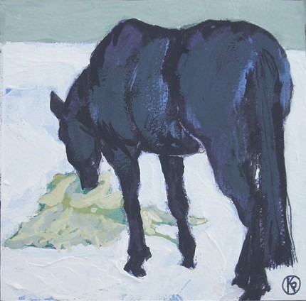"""""""Shades Of Black - Winter #1"""" Casein on paper, 4 x 4 inches, Signed"""
