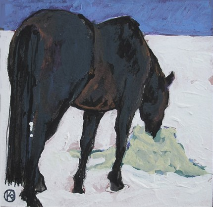 """Shades of Black - Winter #2"" Casein on paper, 4 x 4 inches, Signed"