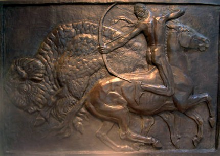 """Arden Fireplace Relief, Buffalo Hunt"" Bronze, Edition of 10, 58 x 84 x 3 inches"