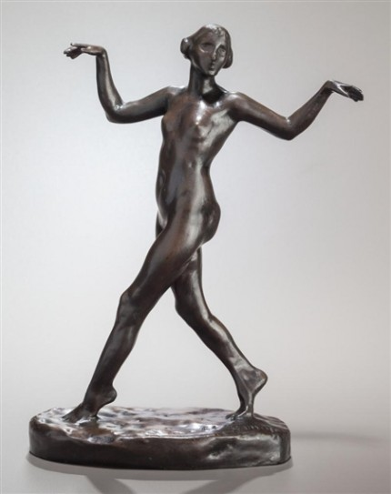 """Dancing Female Nude"" Bronze, 10 x 6 x 3 inches"