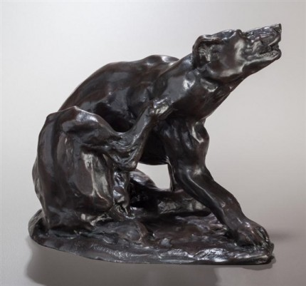 """Dog Scratching"" 1912, Bronze with brown patina, Edition of 40, 6 ½ x 7 ¼ 6 ¼ inches"