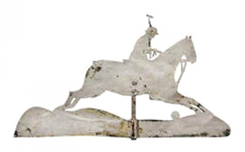 """Rare Antique Polo Playing Weathervane"" 19th Century, 21 x 37.5 inches"