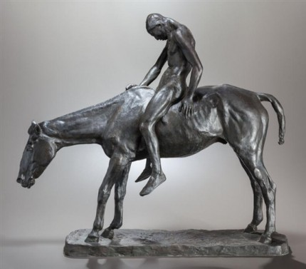 """End of the Trail"" 1904, Bronze with brown patina, Edition of 25, 26 ½ x 31 x 8 inches"