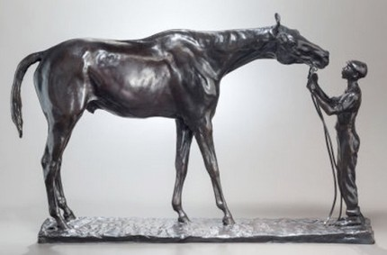 """Good and Plenty"" 1907, Bronze with brown patina, Edition of 25, 13 ¼ x 21 ¾ x 4 ½ inches"