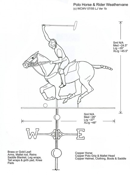 """Polo Horse and Rider Weathervane Design"" Custom Orders Available"