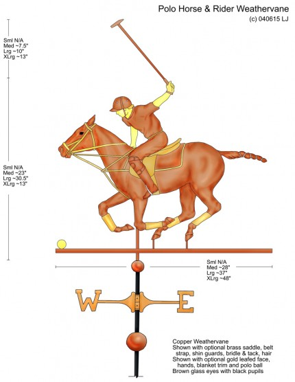 """Polo Horse and Rider Weathervane Design (With mallet up)"" Design modification - Custom Orders Available"