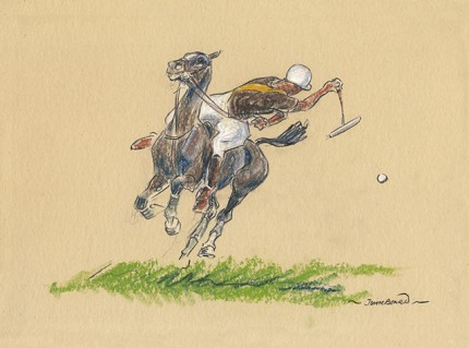 """""""Polo VI"""" Oil pastel on paper, 7 x 10 inches, 14 x 16 inches, Signed"""