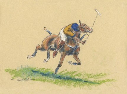 """""""Polo III"""" Oil pastel on paper, 7 x 10 inches, 14 x 16 inches, Signed"""