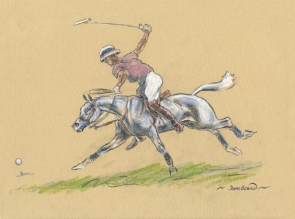 """""""Polo IV"""" Oil pastel on paper, 7 x 10 inches, 14 x 16 inches, Signed"""