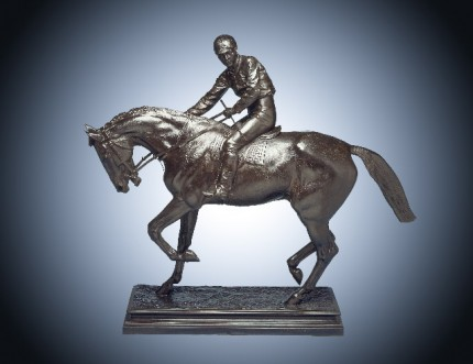 """""""Le Grand Jockey"""" Bronze with dark brown patina, 37.25 x 43 x 13 inches, Signed on base, Signed with the editeur's name and address on base: 'BOUDET 43 RUE DES CAPUCINES'"""