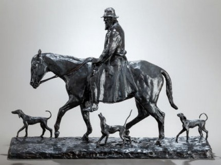 """Old Virginian"" 1917, Bronze with brown patina, 16 x 21 x 6 inches"