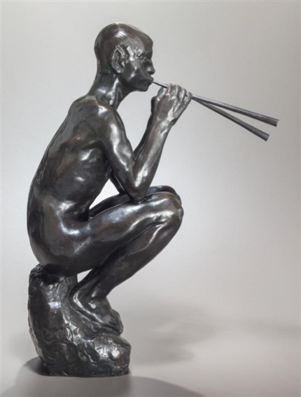 """Pan Piping"" Bronze with brown patina, 20 ½ x 15 x 7 inches"