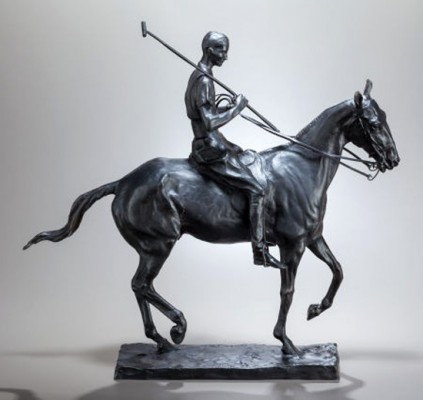 """Polo Player on Pony: Harrison Tweed"" c. 1910-12, Bronze, Edition of 25, 19 x 20 x 6 inches, Signed & Numbered. Harrison Tweed was a polo player and friend of Charles Rumsey, as well as a member of Meadowbrook Polo Club."