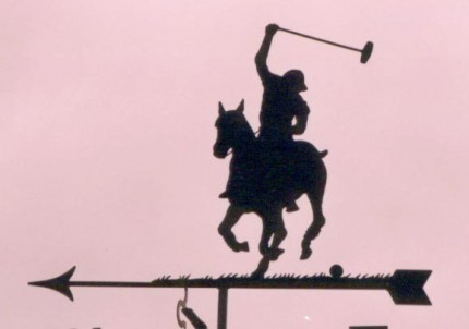 """POLO 'Model D' Weathervane"" The polo player is 21 inches high (from arrow), Arrow length is 30 inches"